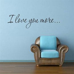 Wholesale Best Paper Stickers - Wholesale- The Best Price I Love You More Wall Stickers Children's Girl's Nursery Room Decor Wedding Family Decoration Hot Sale