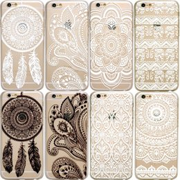 Wholesale Iphone Tribal 5c - HENNA Paisley Mandala Tribal Soft Clear transparent TPU Silicone Case for iPhone X 10 8 7 6 6s Plus 5S 5C Case