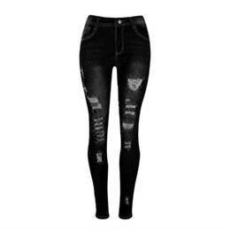 Wholesale Jeans For Women Wholesale - Wholesale- Europe Plus Size S-XL Elastic Fabric Ripped Jeans for Women Holes Bleached Washed Jeans with High Waist Skinny Pencil Trousers