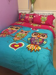 Wholesale Girls Full Size Bedding - Wholesale- 3  4pcs 100% cotton Girls Cute Owl Duvet cover set twin size for single bed Full king bedding sets with flat sheet