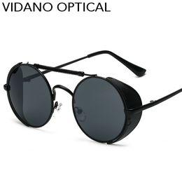 Wholesale Red Gift Wrap - Vidano Optical New Arrival Steampunk Round Metal Sunglasses Gift Men Women Unisex Vintage Fashion Mirror Brand Wrap Sun Glasses UV400