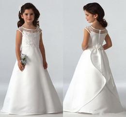 Wholesale Aline Communion Dress - 2016 Simple Flower Girls Dresses For Weddings Cap Sleeves Satin Floor Length Custom Made Aline First Communion Dresses For Girls