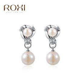 Wholesale Jewelry Hand Made Pearls - ROXI Fashion Jewelry Man-made Bead Earring For Women Pierced Ears Earrings Pure Hand Elegant For Women Wedding Christmas Gift