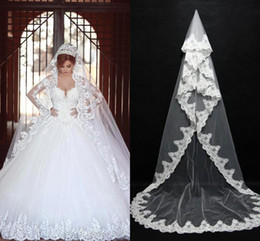 Wholesale Bridal Veils Lace - 2017 Cheap In Stock Long Bridal Veils Lace Bridal Wedding Accessories Long Appliques Edged Cathedral Formal Wedding Veils