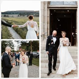 Wholesale Sarah Bridal Gowns - Boho Wedding Dresses Designed by Sarah Seven 2017 Vintage A Line Chiffon Wedding Dress with Detachable Jacket Romantic Bridal Gowns