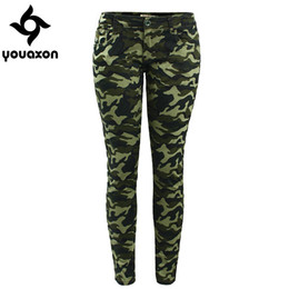 Wholesale Women Plus Size Camouflage Pants - Wholesale- 2019 Youaxon Women`s S-XXXXXL Plus Size Chic Camo Army Green Skinny Jeans For Women Femme Camouflage Cropped Pencil Pants