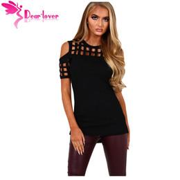 Wholesale Womens Black Spandex Shorts - Dear-Lover Womens Summer Ladies T-shirts Short Sleeve Femme Black Cage Cutout Cold Shoulder Top Femininas Blusas Casual LC250008 17410