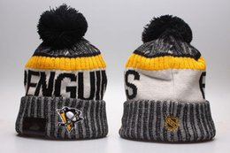 Wholesale Penguin Cap - New Arrival Pittsburgh Penguins Knitted Embroidered Team Logo Beanies Quality Winter Warm Skull Caps Ice Hockey Pom Cuff Hats