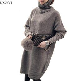 Wholesale Long Turtleneck Dress For Women - Wholesale-Korean Sweater Dresses For Women Oversized Sweaters ladies Autumn Winter Long Sleeve loose Thicken Turtleneck Sweater Knitted