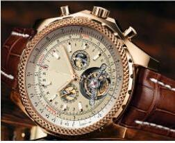 Wholesale Men Leather Band Watches - 2017 new fashion brown leather band 1884 mens watch tourbillion gold stainless steel luxury men watches