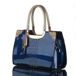 Wholesale Black Yellow Saddle - Women leather handbags women bag the new brand handbag patent Korea fashion single shoulder bag