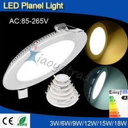 lampes à cristaux liquides 9w Promotion La lumière ultra mince de panneau de LED a mené les plafonniers ronds fins de panneau 3W 6W / 9W / 12W / 15W / 18W 24W enfoncés de chambre à coucher d'ampoule de salle de bains pour la décoration à la maison