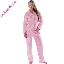 Wholesale Fleece Sleepwear Women - Wholesale- JUICE MATE Women Sleepwear Spring Autumn Warm Coral Fleece Plus Size Pink Pyjama Suit Nightwear 2 Pieces Pajama Set For Ladies