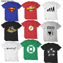 Wholesale Big Bang Theory Sheldon T Shirt - The Big Bang Theory T-shirt Sheldon Cooper super hero green lantern the flash cosplay t shirts men women geek tee TBBT tshirt
