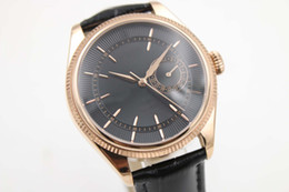Wholesale Rose Gold Brown Mechanical - LUXURY Brand Men's Watch Mechanical Automatic Movement Men Cellini Date Sapphire Glass Mens Business Rose Golden Black Leather Strap Watches