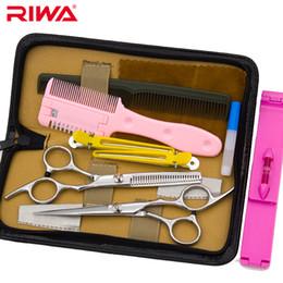Venta al por mayor - Japón 440C acero inoxidable peluquería tijeras de pelo Set 17.2cm tijeras de corte para el cabello herramientas de peluquería 6.5