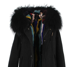 Wholesale Real Fur Trimmed Coats Women - Cold winter fur parkas Black fur trim multicolour Grass rabbit fur lined canvas black mini parka real rabbit fur lined coats