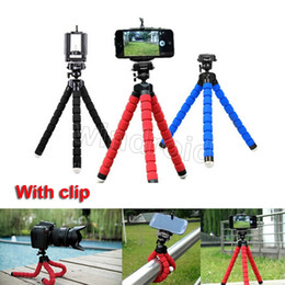 Wholesale Mini Octopus Flexible Camera Tripod - Flexible Tripod Holder For Cell Phone Car Camera Gopro Universal Mini Octopus Sponge Stand Bracket Selfie Monopod Mount With Clip Free DHL
