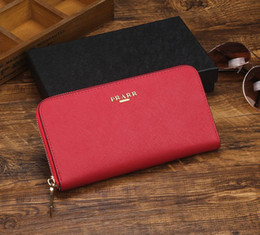 Wholesale Plain Blue - Top Quality Italy Milano style famous brand Designer women lady classic fashion saffiano genuine cow leather Luxury clutch purse wallet