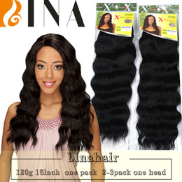 "Wholesale Heat Resistant Synthetic Hair Extension - BINA Xpression rose deep weave synthetic weaving hair extensions Heat Resistant fiber 16"" Black weavon hair bundles 1packs lot"