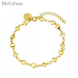 Wholesale Link Lead - (248B) MGFam (21cm*5mm) 24k Gold Plated Heart Bracelets for Lady lovely style Lead and Nickel Free