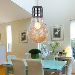 Wholesale Modern Big Pendant Lights - Stylish Big Bulb Modle Pendant Lamp Free Shipping New Modern Dining Room Aluminum Wire inside Glass ball Lampshade Pendant Light Fixture