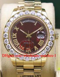 Wholesale President Ii - Wholesale high quality hot style Red Dial Mens Day-Date 2 II 18k 41MM President Yellow Gold Bigger Diamond Ceramic Bezel Mechanical Men Watc