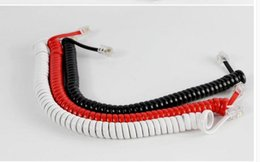 Wholesale Landline Telephone Corded - 100pcs lot Telephone handset cord microphone cable landline phone accessories handle lines corded telephone cable curve