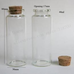 tubos de acrílico transparente Rebajas Frascos cristalinos de las botellas de cristal 30pcs / lot 40ml con el corcho, deseando la botella taponada corcho, tarro de cristal