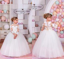 Wholesale Easter Shirt For Child - Custom Made Flower Girl Dresses for Wedding White Princess Tutu Handmade Flower Appliqued Lace Long Sleeve Child First Communion Dresses