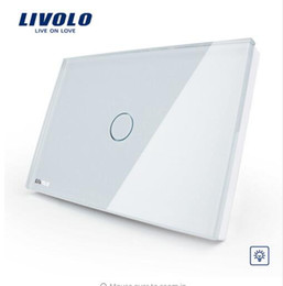 Wholesale Touch Control Gang - Livolo Manufacturer, White Glass Panel Dimmer Wall Switch,Dimmer Lighting Control US AU standard, Light Home 1 Gang 1 Way VL-C301D-81