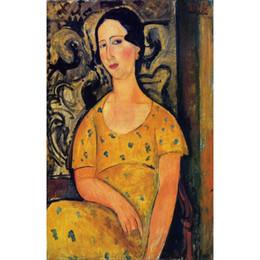 Wholesale Giovane donna in un vestito giallo di Amedeo Modigliani Dipinti Donna arte astratta Alta qualità Dipinto a mano