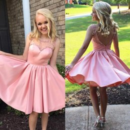 Wholesale Beaded Collar Short Dress - Pink Short Prom Dress Fashionable Round Neck Stain With Beaded Collar Mini Length Sleeveless Dresses Evening Wear Backless Party Gowns