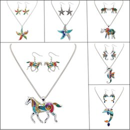 Wholesale 925 Sterling Horse Pendant - Enamel Star Animal Necklace Earrings Sets Women Jewelry Anti-allergic 925 Sterling Silver Plated Colorful Drip Resin Horse Pendant Necklace