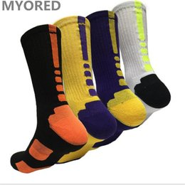 Wholesale Wholesale Basketball Candy - MYORED mens proessional basketball socks cotton candy colored elite long tube sock for man sports meias