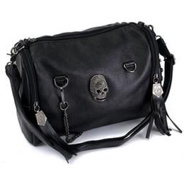 Wholesale Motorcycle Bag Rivet - Wholesale-Portable Women Vintage Shoulder Bag Skull Rivet Tassel Lady Crossbody Satchel Messenger Bucket Motorcycle Bags Tote Big Capacity