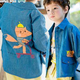 Wholesale Tops Long Back - Spring New Boys Outwear Denim Clothing T-shirts Children's Shirts Tops Blue Cartoon Pig Printed Back Cotton Cardigan Shirt Tee Top A6370