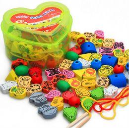 Wholesale Toy Wood Block Box - Wholesale- 1 Set Creative Wooden Lacing Beads Animals Blocks Heart-shape Box Threading Educational Toy