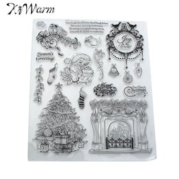 Wholesale Scrapbook Themes - Wholesale- Christmas Theme Santa Claus Fireplace Transparent Silicone Clear Stamps for Scrapbook Photo Album Cards Hand Account DIY Decor