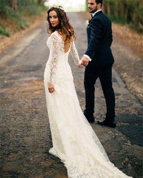 Wholesale Sexy Country Wedding Dresses - Vintage Full Lace Long Sleeve Backless Wedding Dresses 2017 Plus Size Country Style Custom Made Bridal Gowns
