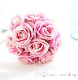 Wholesale Center Pieces - 9 heads wedding rose bouquet center piece silk flowers artificial decorative flowers for home wedding market decoration 23311