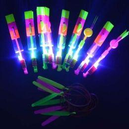 Wholesale Led Light Toy Sling - LED Light Flash Amazing Flying Elastic Powered Arrow Sling Shoot Up Helicopter Rubber Band Umbrella Kids Flying Toys CCA7450 2000pcs
