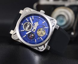 Wholesale Titanium Watch Moon - Popular style Square Titanium alloy watchcase design Moon Phase Tourbillon Blue dial Sapphire Crystal surface Automatic Mens watch