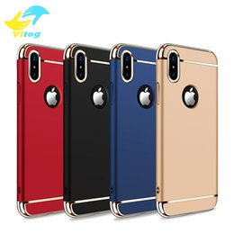 Wholesale Hard Cases For Mobile Phones - Luxury 3 In 1 Electroplating Plastic Hard Back Case For Iphone6 7 8 Plus X samsung s7 s8 s8 plus All Around Protect Cover Mobile Phone Cases