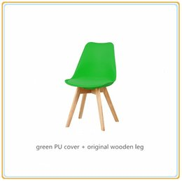 Wholesale Chair Dining Room Furniture - Modern Dining Chairs Dining Room Chairs elegances chaises Home Furniture with Green PU Cover and Original Wooden Legs