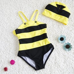 Wholesale Swimsuit Bee - 2017 Girls Bee Design Swimwear With Wings And Hats Sweet Baby Kids Yellow Striped Swimsuit Children Beach Wear Clothing