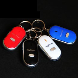 Wholesale Whistle Finder - LED Sound Control Lost Key Torch Finder Keyring Keychain Key finder whistle devices will ring flash LED Keychain Bag Hanger anti-lost Alarm