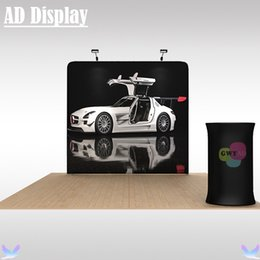 Wholesale Roll Up Banner Display Stand - Exhibition 8ft Width Portable Tension Fabric Advertising Display Banner Stand With Single Side Printing And Oval Table(Include LED Light)