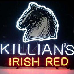 "Wholesale Irish Bar Signs - Killians Irish Red Lager Beer Neon Sign Custom Handmade Glass Bar KTV Club Store Art Display Neon Signs Printed Horse Head 17""X14"""