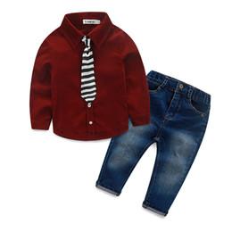 Wholesale boys denim shirts - Fashion Boys Clothes kids clothes red black shirt+denim jeans children clothing set for 1~8 Y 6 s l